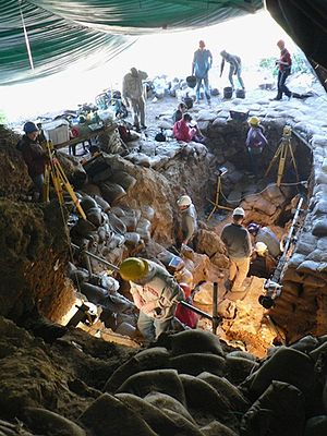 Pinnacle Point - Excavations in progress in one of the Pinnacle Point Caves, 2011