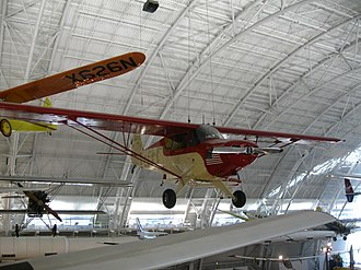 "Piper PA-12 - The ""City of Washington"" which flew around the world in 1947 on display in the Steven F. Udvar-Hazy Center"