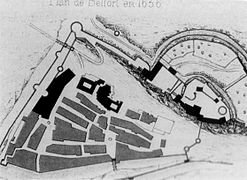 croquis représentant un plan de Belfort en 1636