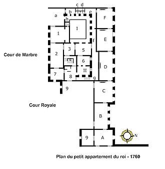 Petit appartement du roi - Image: Plan du petit appartement du roi 1760