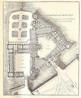 Plan du rez-de-chaussée du grand château et du premier étage du Petit château avec la cour d'honneur, la cour de la Capitainerie et le parterre de la Volière