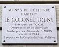 Plaque Colonel Touny, 1 rue du Général-Langlois, Paris 16.jpg