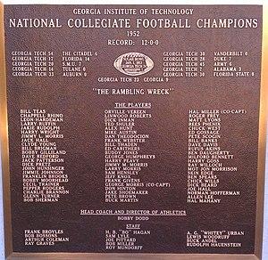 1952 Georgia Tech Yellow Jackets football team - Plaque for 1952 GT Football National Championship