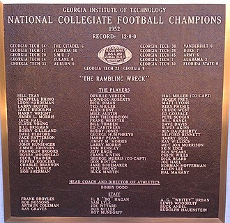 1952 Georgia Tech Yellow Jackets football team - Plaque for 1952 GT Football National Championship
