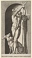 Plate 7- Pluto in a niche, holding a bident, with Cerberus next to him, from a series of mythological gods and goddesses MET DP830883.jpg