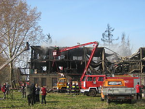 Kamień Pomorski homeless hostel fire - Charred remains of the homeless shelter in Kamień Pomorski, Poland.