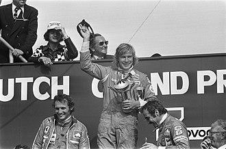 1975 Dutch Grand Prix - The podium with Lauda, Hunt and Regazzoni