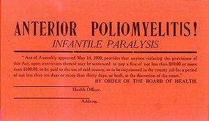 History of poliomyelitis - Image: Polio quarantine card