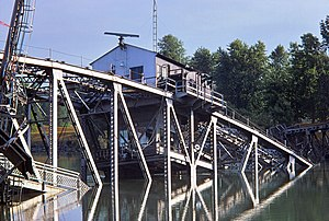 Port Robinson, Ontario - Image: Port Robinson Welland Canal 20 Bridge 12 after collision with Steelton Aug 25 1974