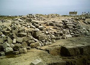 Portland Bill - Piles of stone at Portland Bill from ex-quarrying in the area