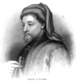 Portrait of Geoffrey Chaucer engraved by W. H. Mote.png