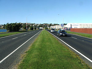 South Dunedin - Portsmouth Drive follows the route of the original 1912 causeway along the harbour's edge.