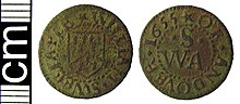 Post-medieval trade token farthing (Andover, Hampshire) (FindID 398613).jpg