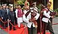 """Pranab Mukherjee in a procession at the inauguration of the International Conference on the theme of """"Universities of the Future Knowledge, Innovation and Responsibility"""" at O.P. Jindal Global University (JGU), at Sonipat.jpg"""