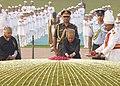 Pranab Mukherjee paying floral tributes at the Samadhi of the former Prime Minister, Pandit Jawaharlal Nehru on his 123rd birth anniversary, at Shantivan, in Delhi. The Chief Minister of Delhi.jpg