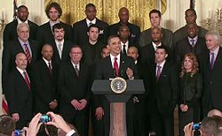 642f8636ce1 Barack Obama speaking with the Los Angeles Lakers on January 25, 2010, at  the White House
