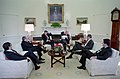 President Ronald Reagan meeting with James Wright, Ken Duberstein, Howard Baker, Colin Powell, and William Ball.jpg