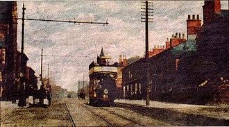 Prestwich - Tram to Manchester passing through Prestwich village in 1904