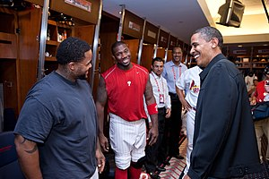 Ryan Howard - Barack Obama talks with Howard and Prince Fielder (left), before the start of the MLB All-Star Game.