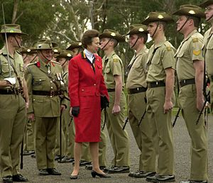 Royal Australian Corps of Signals - Princess Anne inspects troops at the 75th anniversary parade for the Royal Australian Corps of Signals