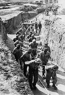 "Prisoners hauling earth for the construction of the ""Russian camp"" at Mauthausen.jpg"