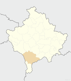 Location of the city of Prizren within Kosovo