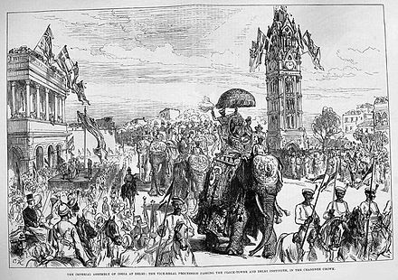 The Delhi Durbar of 1877: the proclamation of Queen Victoria as Empress of India Procession1877.jpg