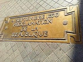 Proclamation of Republic plaque in Arc de Triomphe