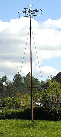 The lightning rod invented by the Czechoslovakian priest Prokop Divis in 1754. Image courtesy of Bohemianroots (author) and Wikipedia.