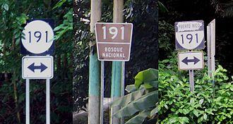 Puerto Rico Highway 191 - Puerto Rico Highway 191 signs