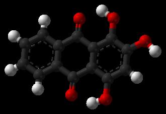 1,2,4-Trihydroxyanthraquinone - Image: Purpurin 3D balls