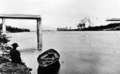 Queensland State Archives 484 Albert Bridge railway Brisbane River between Indooroopilly and Chelmer which was washed away during the 1893 flood February 1893.png