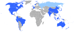 Member states in dark blueObservers in sky blue