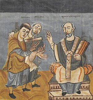 Alcuin - A Carolingian manuscript, c. 831. Rabanus Maurus (left), with Alcuin (middle), dedicating his work to Archbishop Odgar of Mainz (right)