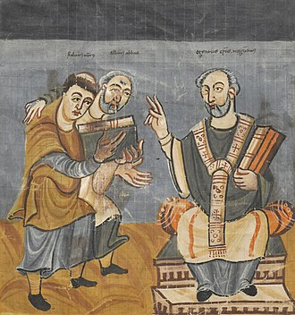 Carolingian Renaissance - Alcuin (pictured center), was one of the leading scholars of the Carolingian Renaissance.