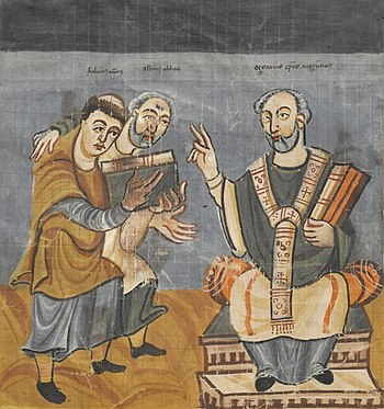 The young Rabanus Maurus (left), depiction in a manuscript from Fulda around 830/40