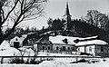 Radvány (ekkor önálló, ma a város része), a dombon a Szűz Mária Születése kegytemplom (Kostol Narodenia Panny Márie). Fortepan 96020.jpg