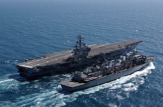 USNS Rainier (T-AOE-7) - Rainier replenishing USS Ronald Reagan, 2005