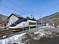 Rame 01 TGV Sud-Est Savoie-Lille entrant à Landry (hiver 2019).JPG
