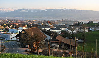 Rapperswil-Jona - Rapperswil-Jona as seen from Kempraten-Lenggis, Jona to the left, Rapperswil and Seedamm to the right, Obersee (upper Lake Zürich) and Lachen (SZ) in the background (March 2010)
