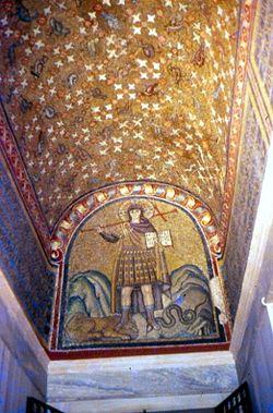 Mosaico del Cristo Guerriero nell'atrio della Cappella Arcivescovile