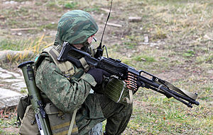 Pecheneg machine gun - Russian soldier from the 4th Guards Tank Division with the Pecheneg and RPG-26.