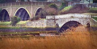 Redbridge, Southampton - The 1793 bridge (in the foreground) with the newer road bridge behind