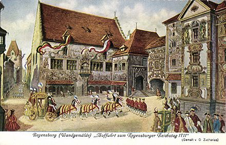 Ceremonial arrival at the Imperial Diet, 1711 Regensburg Reichstag 1711.jpg