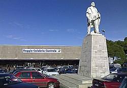 Exterior of the station building andGiuseppe Garibaldi monument and square