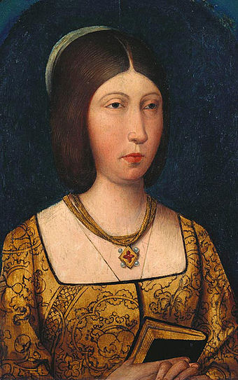 Isabella depicted with darker hair, c. 1485 Reinaisabeldecastilla.jpg