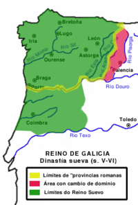 Suebic kingdom in Gallaecia and Lusitania. There were periods of control of territories south of the Tagus river as far as the Algarve.