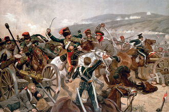 British cavalry charging against Russian forces at Balaclava in 1854 Relief of the Light Brigade.png