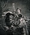 Rembrandt, portrayed perhaps as the prodigal son, stands wit Wellcome V0019544.jpg
