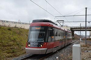 Rhônexpress - Image: Rhôn Express Stadler Tango 102 Aéroport Lyon Saint Exupéry